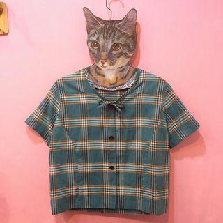 [彩色櫥窗]古著夏季輕薄藍綠格子小綁帶壓扣上衣外罩