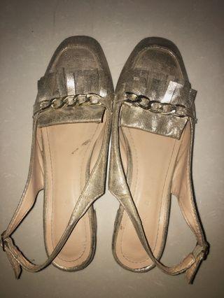 Shiny Gold Mini Heels