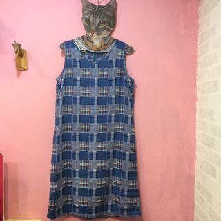 [彩色櫥窗]古著背後拉鍊大小格子可愛背心裙