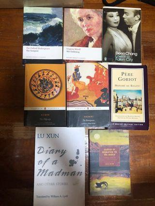 🚚 The Tempest, Mrs Dalloway, Love in a Fallen City, The Odyssey, The Ramayana, Pere Goriot, Diary of a Madman, Season of Migration to the North