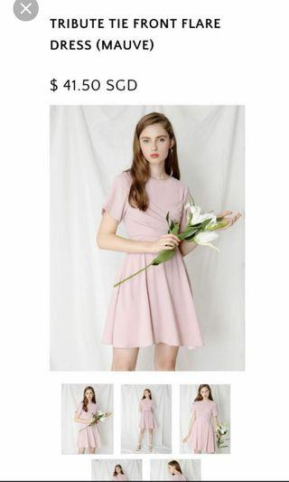 Tribute tie front flare dress