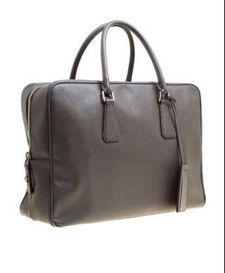Prada Saffiano Grey Briefcase