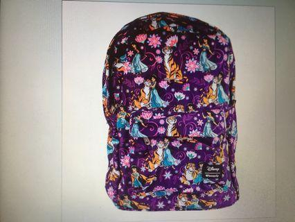 澳洲代購 迪士尼阿拉丁茉莉公主背包 Disney Aladdin Princess Jasmine and Rajah purple Loungefly Backpack