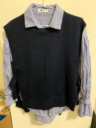 🚚 兩件式條紋襯衫