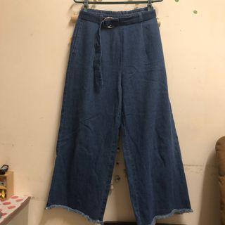牛仔褲 高腰 寬褲 L號