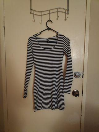 Striped bodycon dress size 8