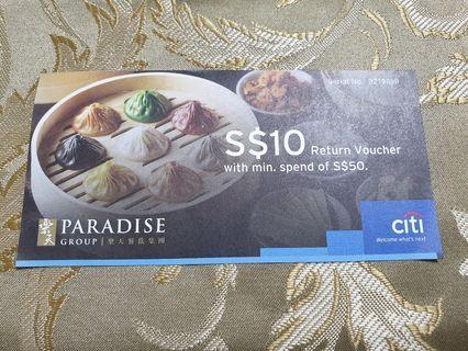 Paradise Group $10 Return Voucher with minimum spend of $50.