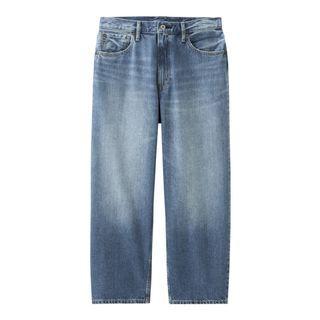 GU UNIQLO附牌 男裝寬鬆窄管褲TG+E 寬褲 水洗淺藍色 牛仔寬褲 男女皆可 S號 300940