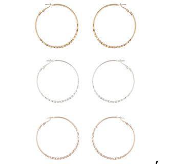 🚚 BN NEW Lovisa Basic Hoop Earrings (Set of 3)
