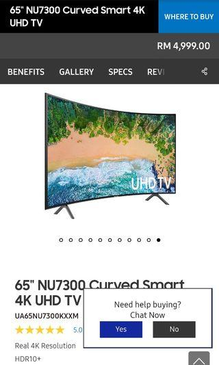 "Samsung 65"" 4k smart tv"