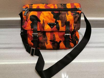 Authentic prada orange camouflage messenger bag