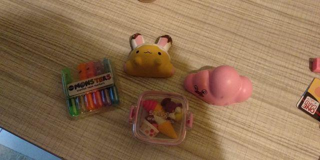 Squishy and highlighter and eraser