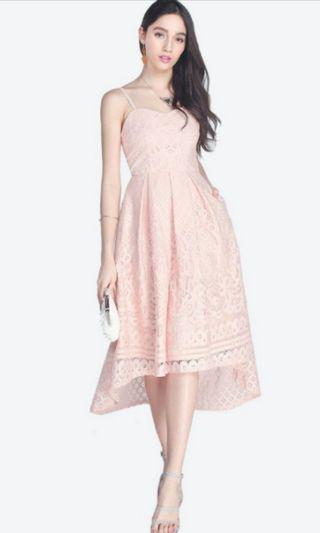 🚚 BN Fayth Pink Lace High Low Midi Dress
