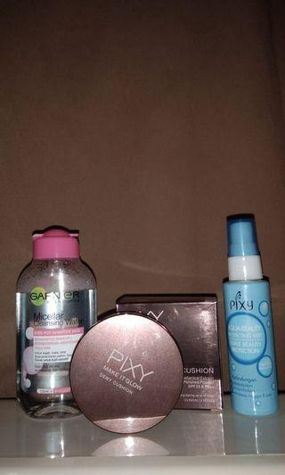 Paket pixy, cushion,garnier micellar water, pixy aqua beuty protection