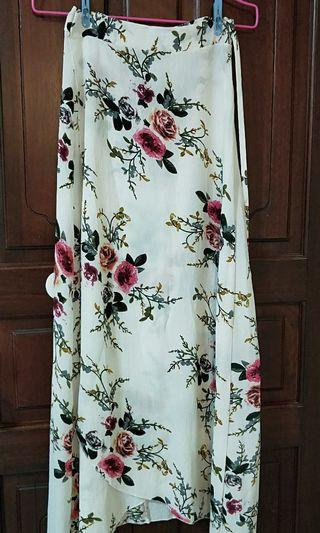 Cream Floral Wrap Skirt