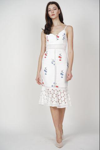 MDS white floral lace dress