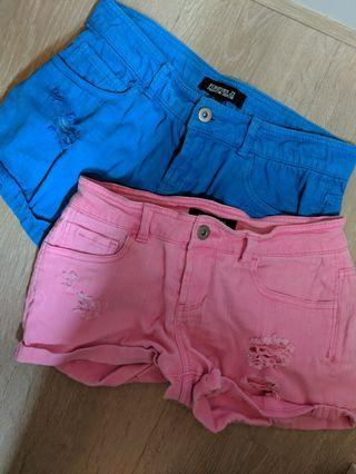 2 FOR $20 Forever 21 Blue and Pink Denim Shorts