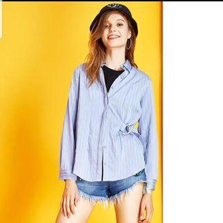 Brand New Zara Striped Shirt With Buckle Detail