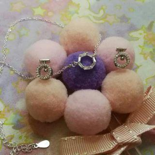 水晶閃鑽圓型銀耳環銀頸鏈,禮物