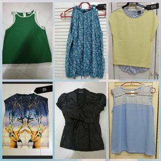 Assorted ladies blouses ranging from $5 to $12