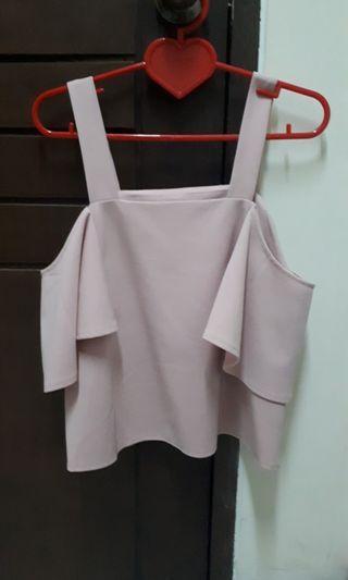 pink top open shoulder