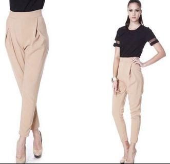 Traceinny sand brown high waist capris sleek pants