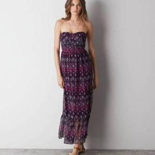 American Eagle AE Printed Corset Maxi Dress (Pink/Purple)
