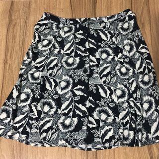 Mango Navy Floral Button Down Skirt