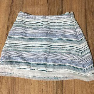 Blue and White Textured Skirt