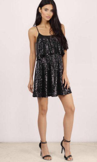 🚚 RTP$110 BN Tobi Black Sequined Open Back Skater Dress
