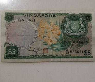 singapore old $5 orchid note