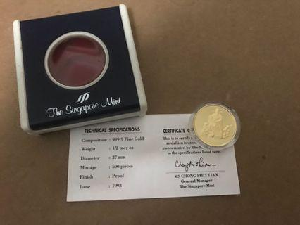 1993 Singapore Gold of Wealth 财神 gold proof