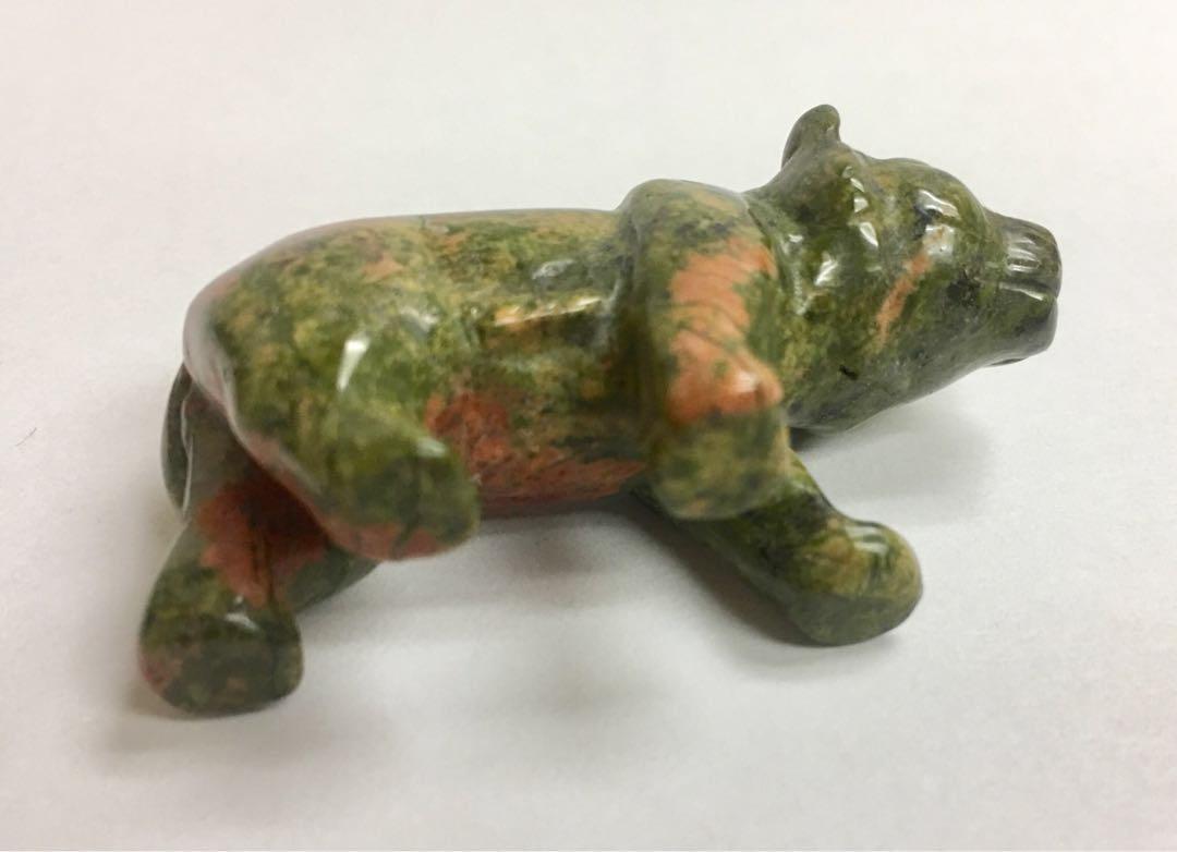 """天然2""""虎形綠簾花崗石雕擺設一件 #MTRtst"""