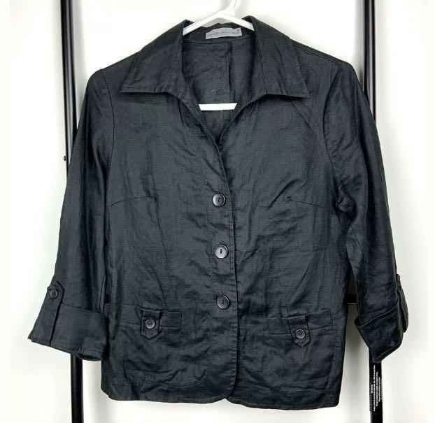Anthea Crawford Collection 8 black Linen top shirt blouse lightweight jacket