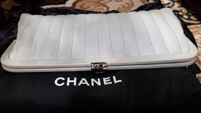 Authentic Chanel Grey Mademoiselle Vertical Stitch Lambskin Leather Clutch