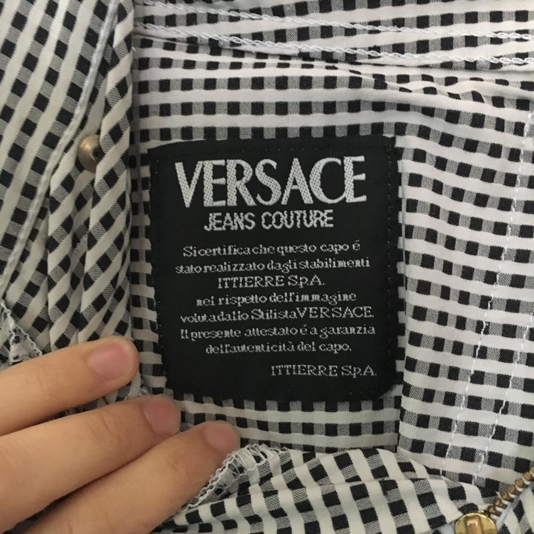 Authentic Versace Black & White Gingham Highwaisted Pants
