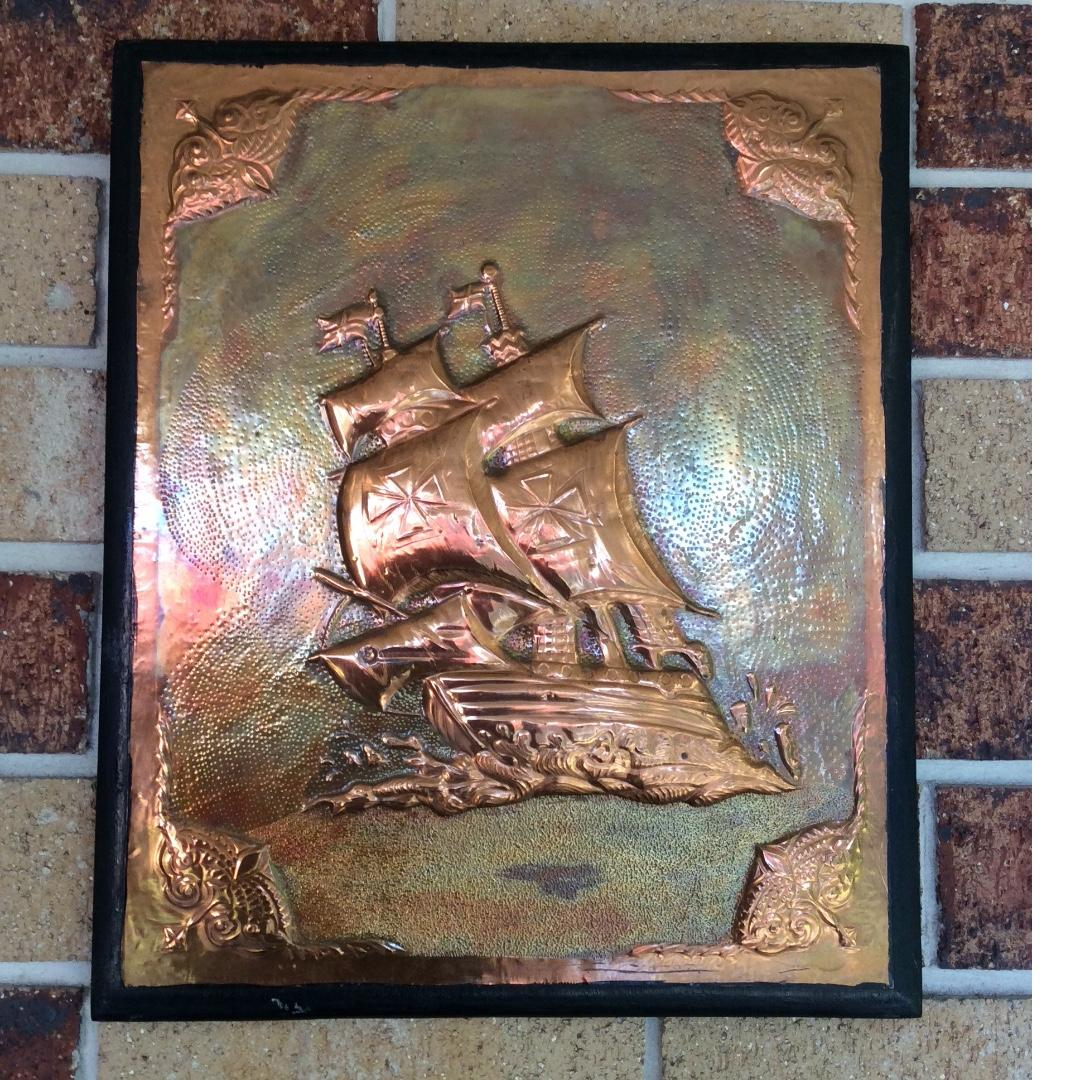 Copper plate ' Santa Maria' sailing ship