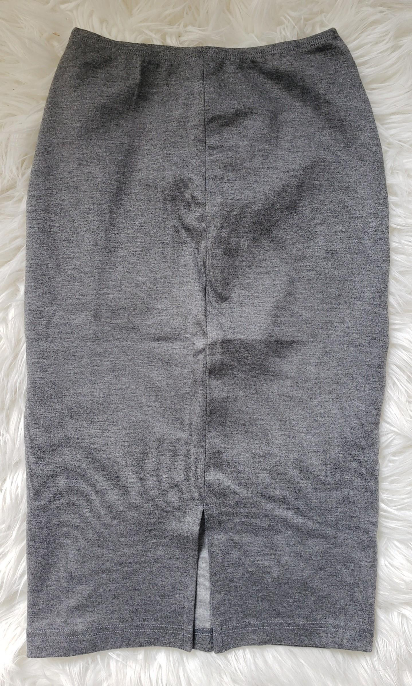 Fitted American Apparel Mid-Length Pencil Skirt (Gray)