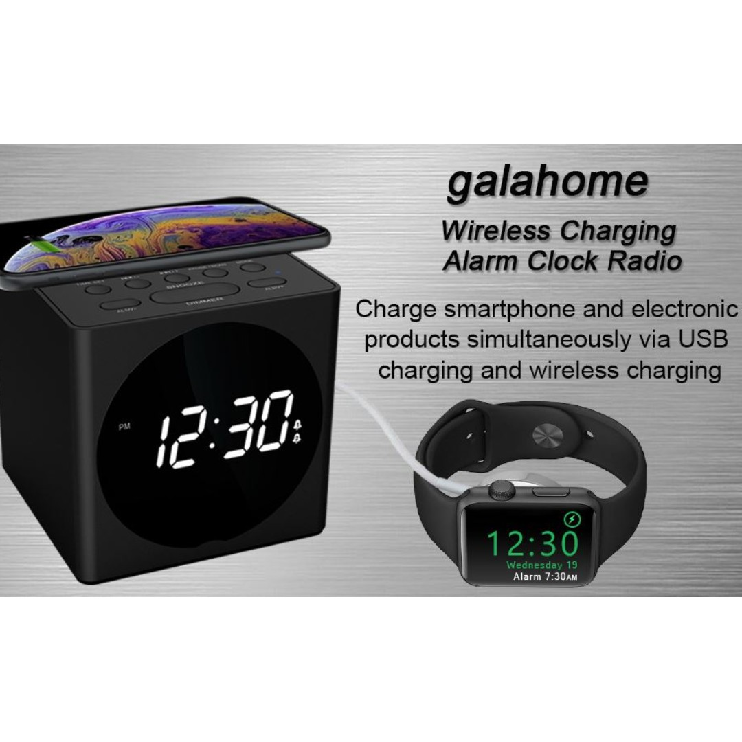 new concept 8807a 7a56b Galahome W7 Wireless Charging Alarm Clock Radio Wireless Charger Compatible  iPhone X iPhone 8,Bluetooth Speaker,USB Charging,FM Radio, Loud Alarm,4 ...