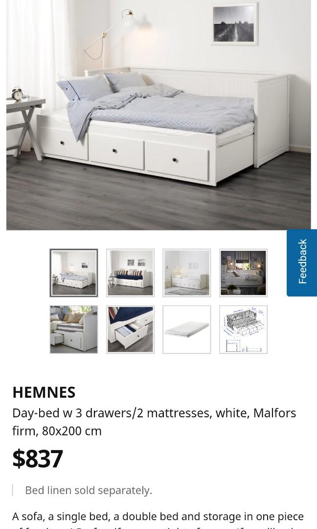 Hemnes Day Bed Ikea 3 Drawers 2 Mattresses Furniture Beds Mattresses On Carousell