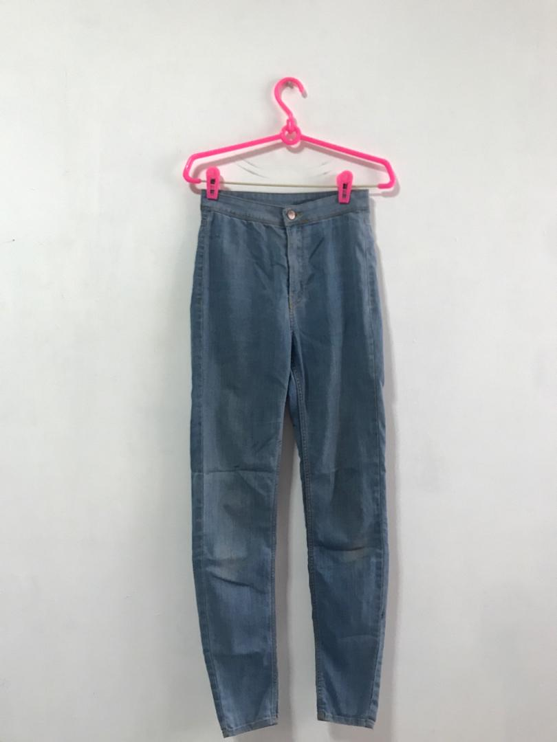 H&M Thin Faded Blue Denim Skinny High Waist Pants Jeans HWJ