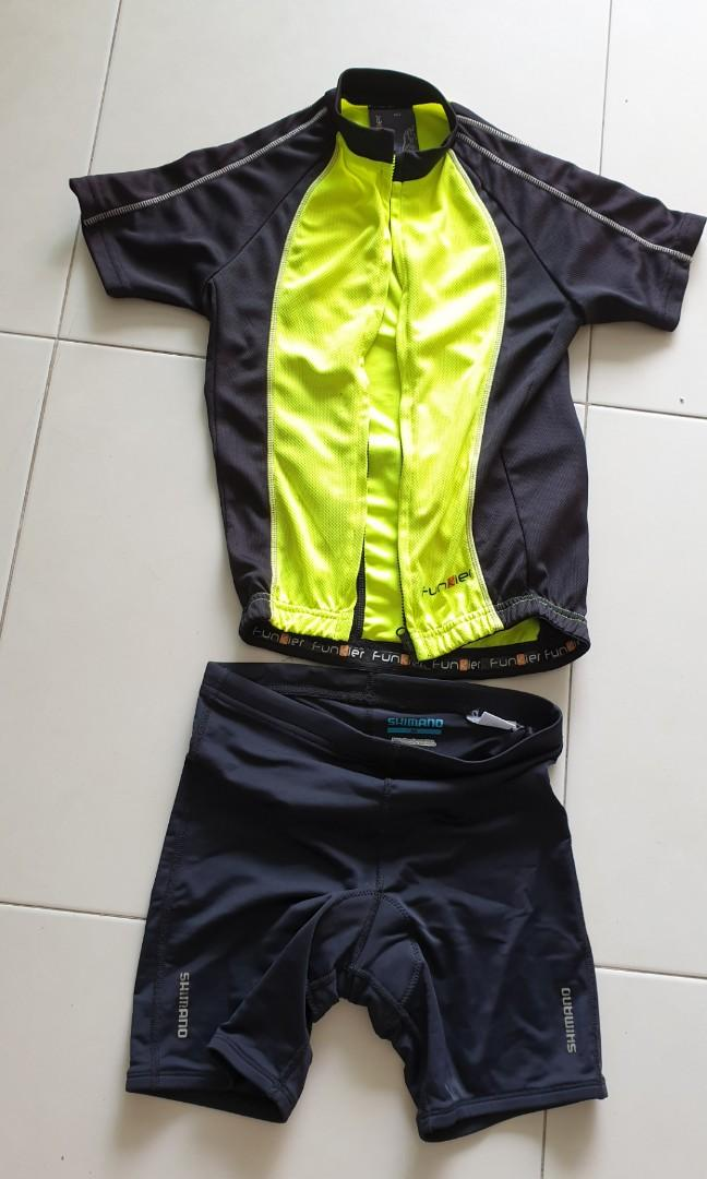 Kid's Funkier cycling jersey & Shimano padded pants (for 1.2-1.3m)