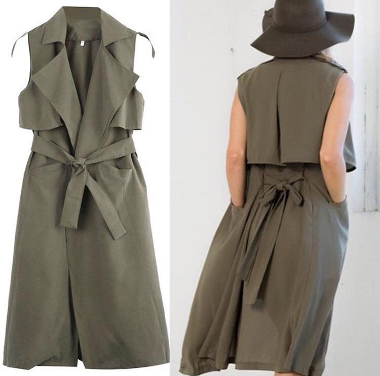 Ladies Double Layered Long Duster Jacket Womens Sleeveless Waistcoat Belt Blazer Jaket Coat Vest Fashion Green Army Wanita Cewek