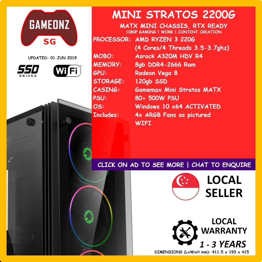 MINI STRATOS GAMING PC AMD RYZEN 3 2200G RADEON VEGA 8 GMNZ