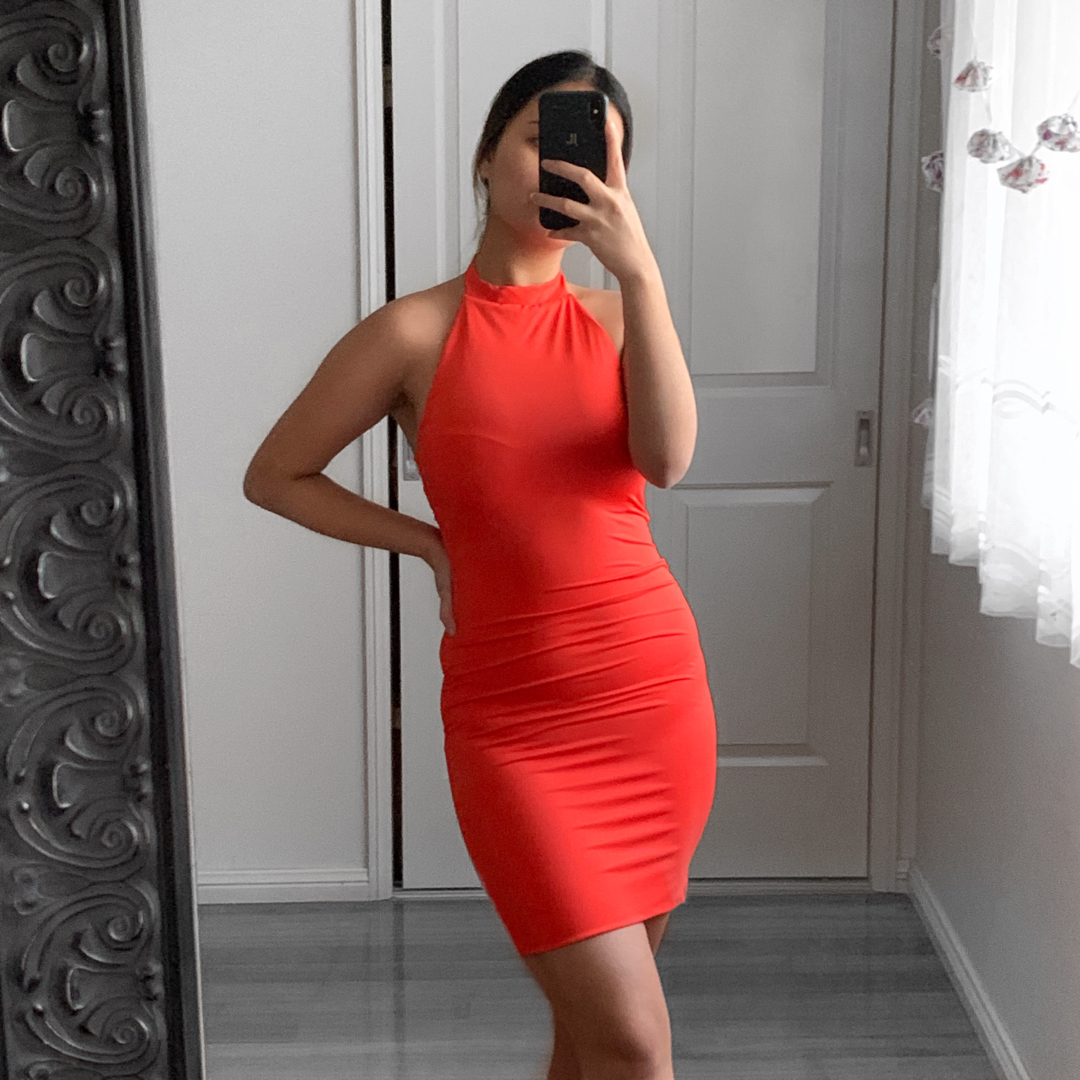 Neon Orange Halter Neck Party Dress