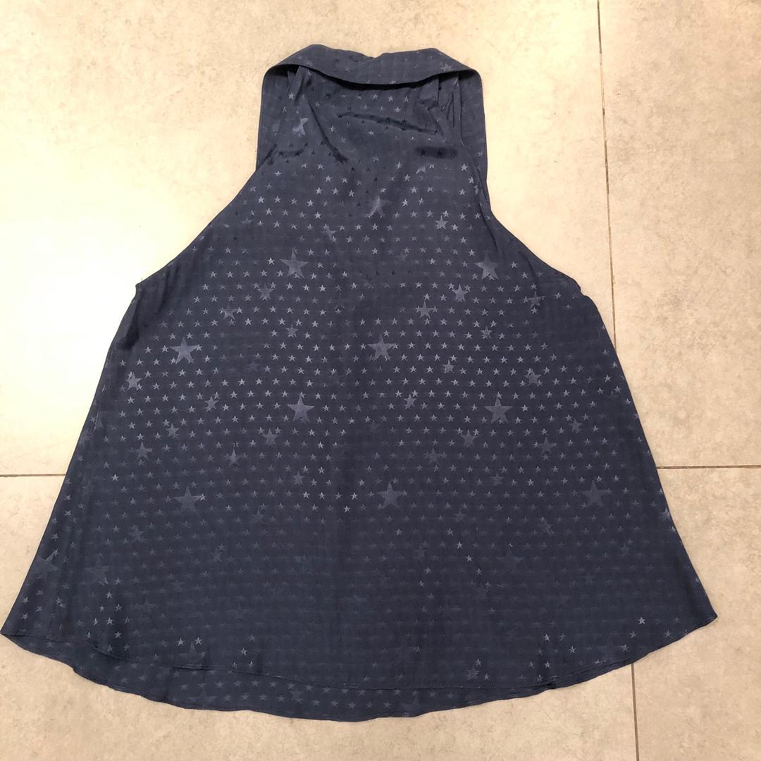 New Zara navy blue star silk print sleeveless top 深藍色絲質星星圖案背心