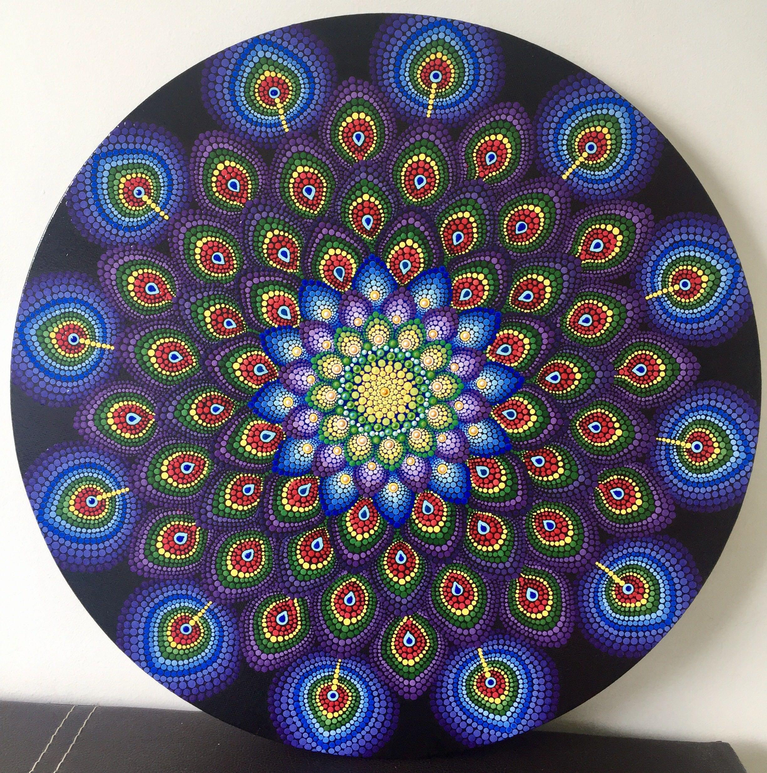 Peacock feather circular dot mandala, Design & Craft, Art