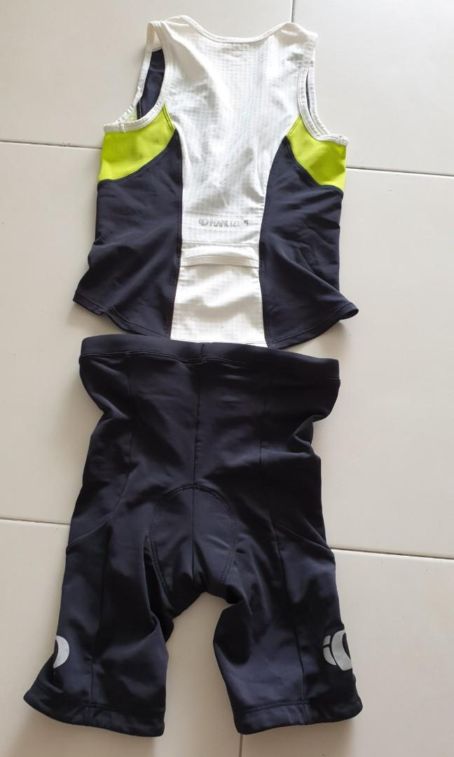 Pearl Izumi tri top (size M) and shorts (size L) for height 1.5-1.6m, waist 26-28 inch - used only once!