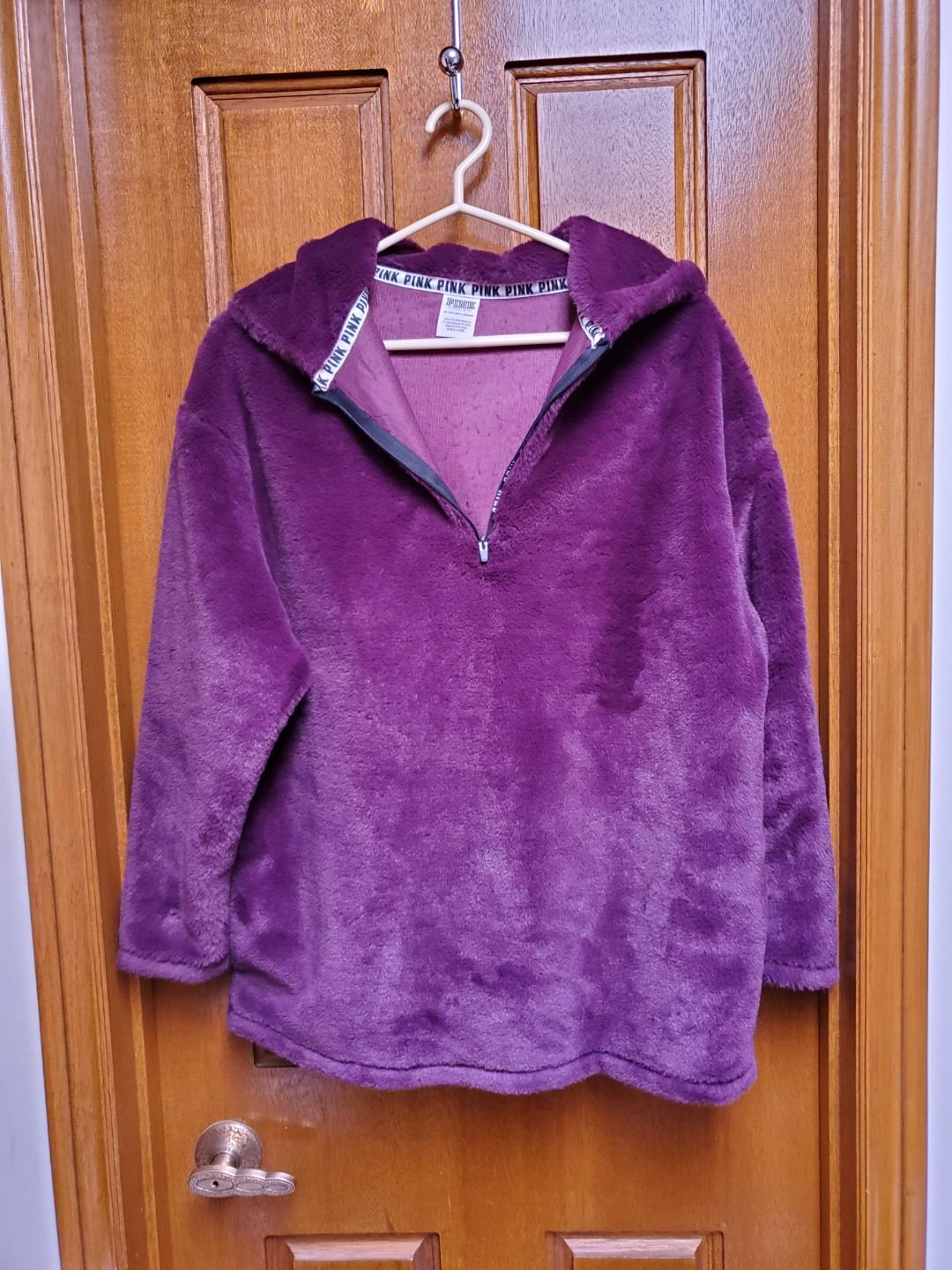 Pink by Victoria's Secret Faux Fur Half Zip Pullover in Luscious Plum