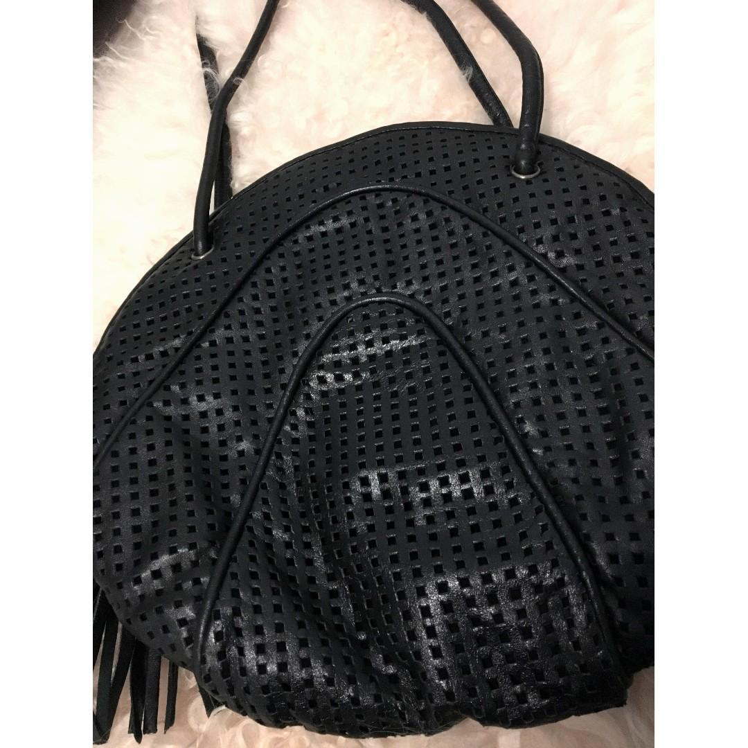 RARE Vintage 80's Large Black Brio Leather Circle Bag
